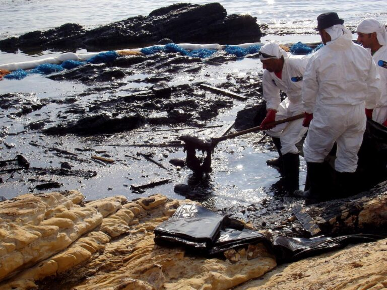 Oil spill cleanup programs to assist lebanon workers to contain and remove spilled oil